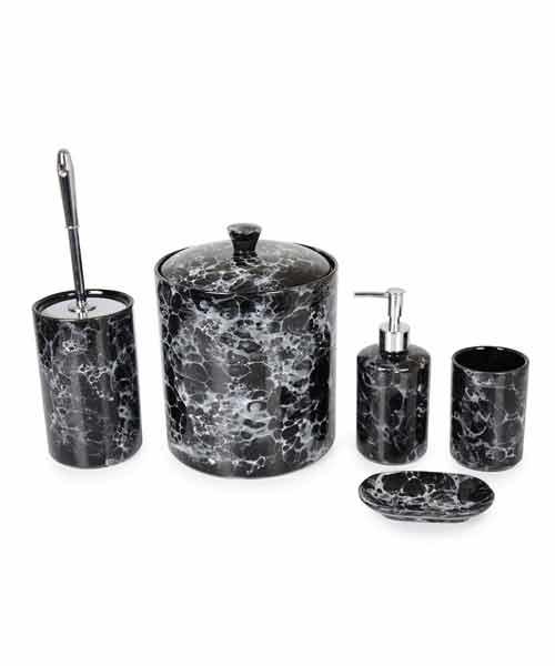 İpek 5 Parça Mermer Desen Siyah Banyo Set