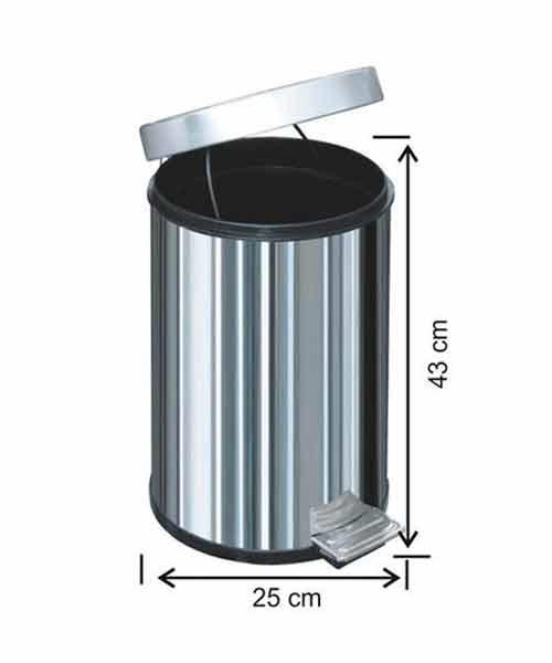 Arı Metal  16 lt Pedallı Metal Çöp Kovası