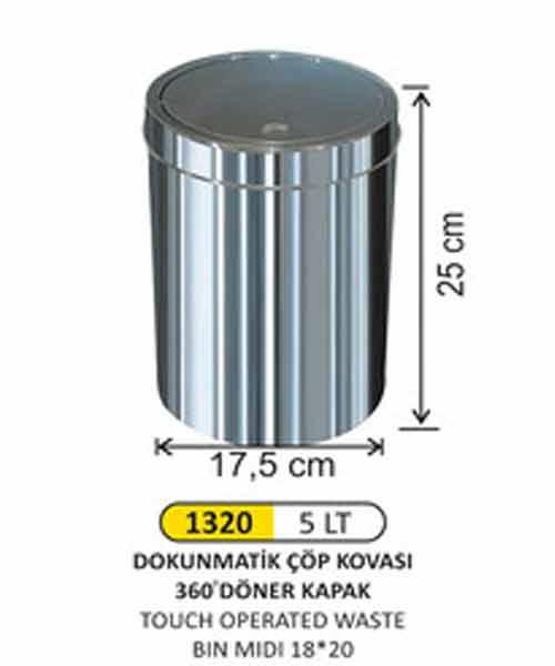 Arı Metal  5 lt Dokunmatik Çöp Kovası 18X25 cm