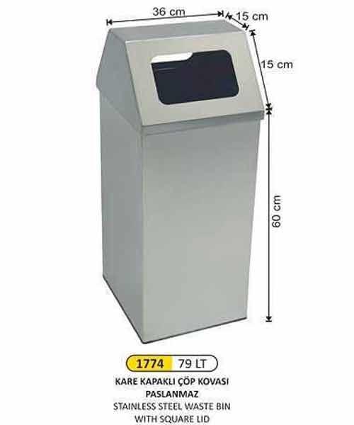 Arı Metal  79 lt Kare Kapaklı Çöp Kovası
