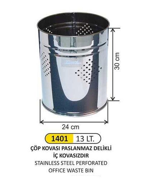 Arı Metal  Delikli Çöp Kovası