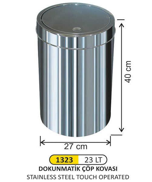 Arı Metal  İtme Kapak Paslanmaz Çöp Kovası No:3
