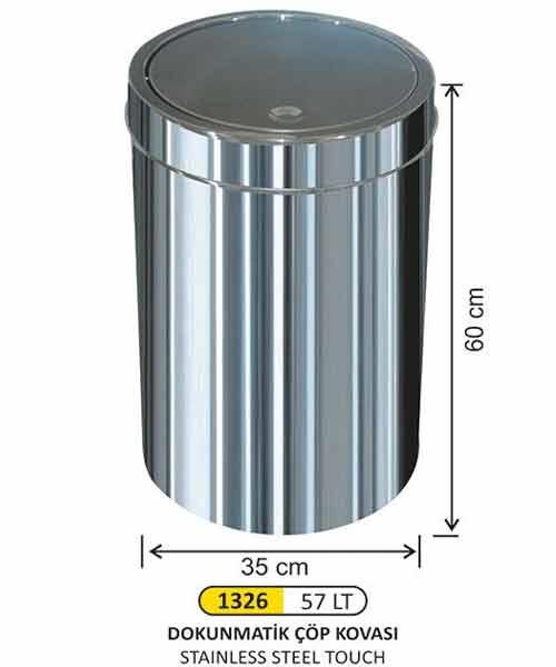 Arı Metal  İtme Kapaklı Çöp Kovası No:6