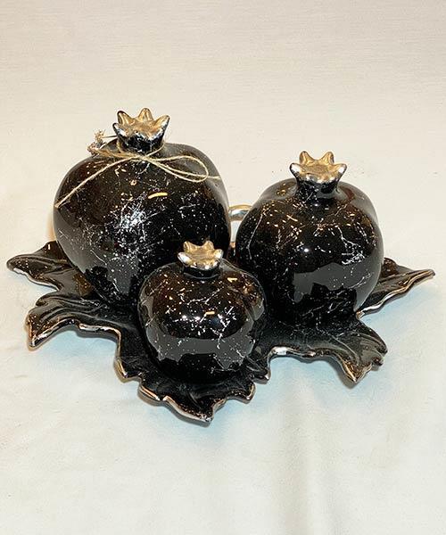 İpek 3 lü Nar Siyah Gümüş Mermer Dekoratif Süs
