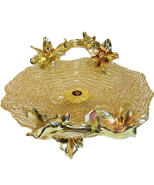 Royal Art Meşe Amber Gold Ayaklı Yuvarlak Tabak