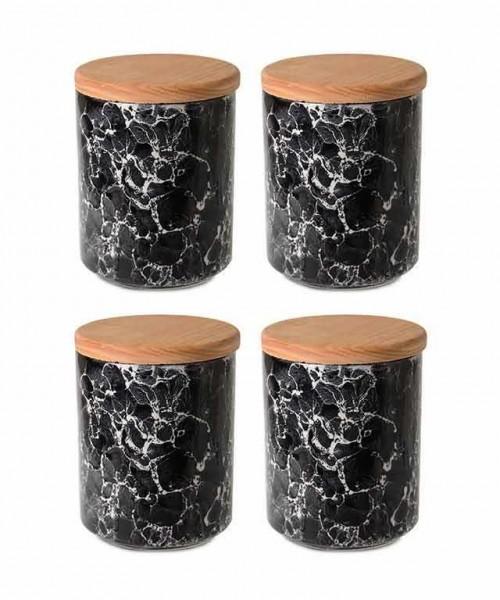 İpek 4´lü Ahşap Kapaklı Küçük Siyah Granit Kavanoz