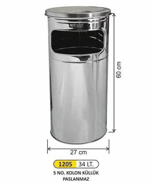 Arı Metal Kapalı Tip Kolon Küllük No:5