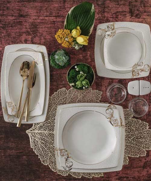 Güral Porselen Caroline 85 Parça Kare Yemek Takımı 5430