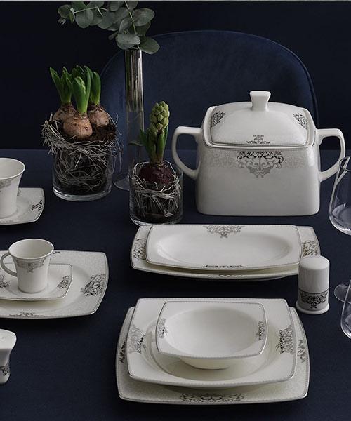 Güral Porselen Caroline 85 Parça Kare Yemek Takımı 5686