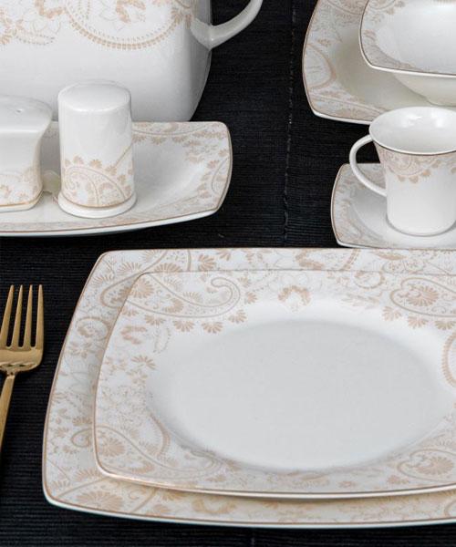 Güral Porselen Caroline 85 Parça Kare Yemek Takımı 5907