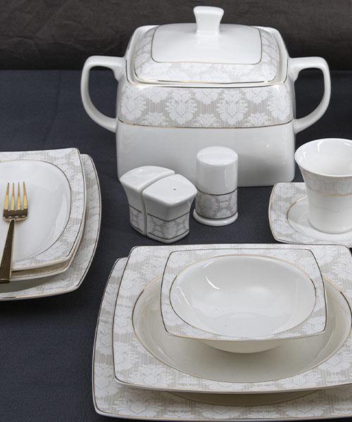 Güral Porselen Caroline 85 Parça Kare Yemek Takımı 5995
