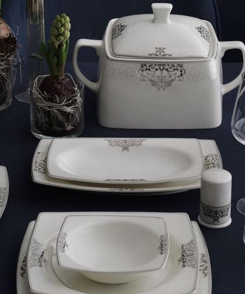 Güral Porselen Caroline 85 Parça Kare Yemek Takımı 6861