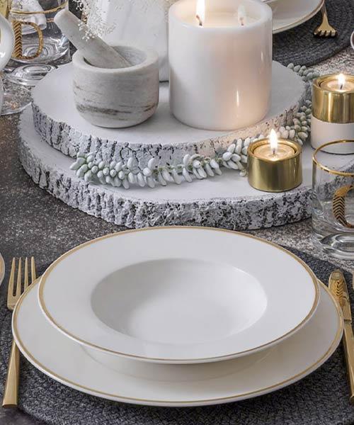 Güral Porselen Caroline 85 Parça Kare Yemek Takımı YT29 Altın File